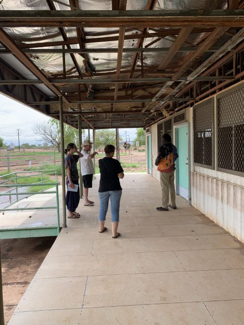 Discussing the design proposal on site with Penny and Rob Roy for the new community hub in Kalkaringi, NT