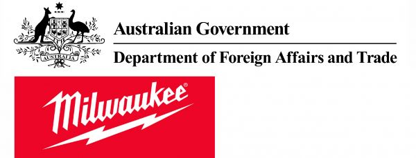 Logos for Australian Government Department of Foreign Affairs and Trade, and Milwaukee Tools