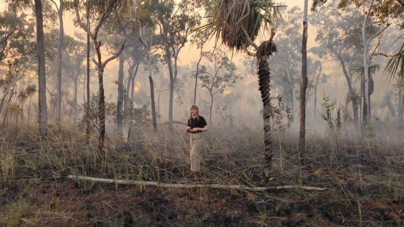 Student standing in bushland