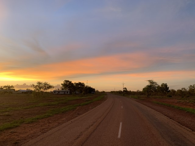 Sunset over the Buntine Highway on the drive back to Darwin from Kalkaringi, NT